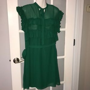 NEW YORK & CO green ruffled dress size L